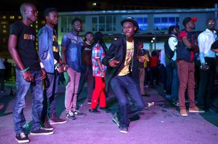 Andrew Esiebo, Dancing time at the annual Jimmy jump off music concert hosted by the Nigeria's legendary Dj Jimmy Jatt at the Get Arena, Oniru-Lekki, an up-market district of Lagos. Jimmy-jump off music concert is dedicated to emerging and established hip-hop artist in Nigeria.
