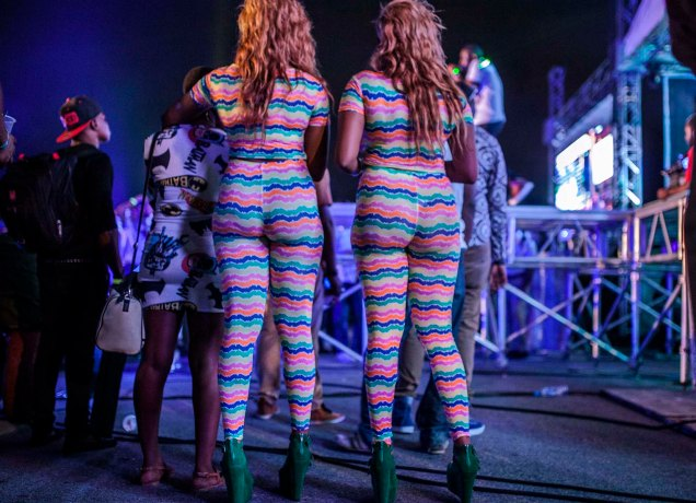 Andrew Esiebo, Urban decked out reveller at the annual Jimmy jump off music concert hosted by the Nigeria's legendary Dj Jimmy Jatt at the Get Arena, Oniru-Lekki, an up-market district of Lagos. Jimmy-jump off music concert is dedicated to emerging and established hip-hop artist in Nigeria.