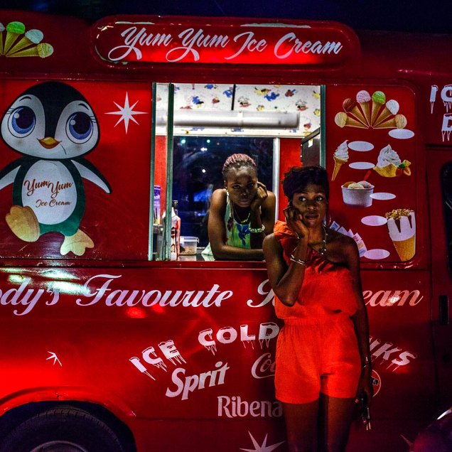 Andrew Esiebo, Mobile ice-cream vendor at the annual Gidifest culture and music festival on the Elegushi beach in Lagos.